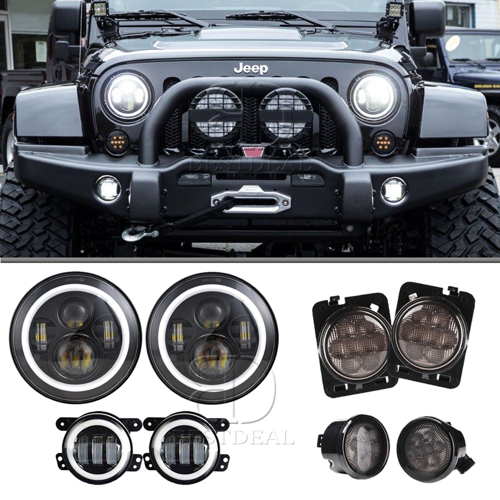 Jeep Wrangler Fog Lights >> Details About For 07 18 Jeep Wrangler Jk 7 Led Headlight Fog Light Turn Signal Fender Light
