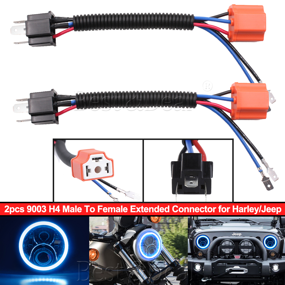 Details about 2x H4 9003 Headlight Bulb Ceramic Socket Plug DRL Connector on