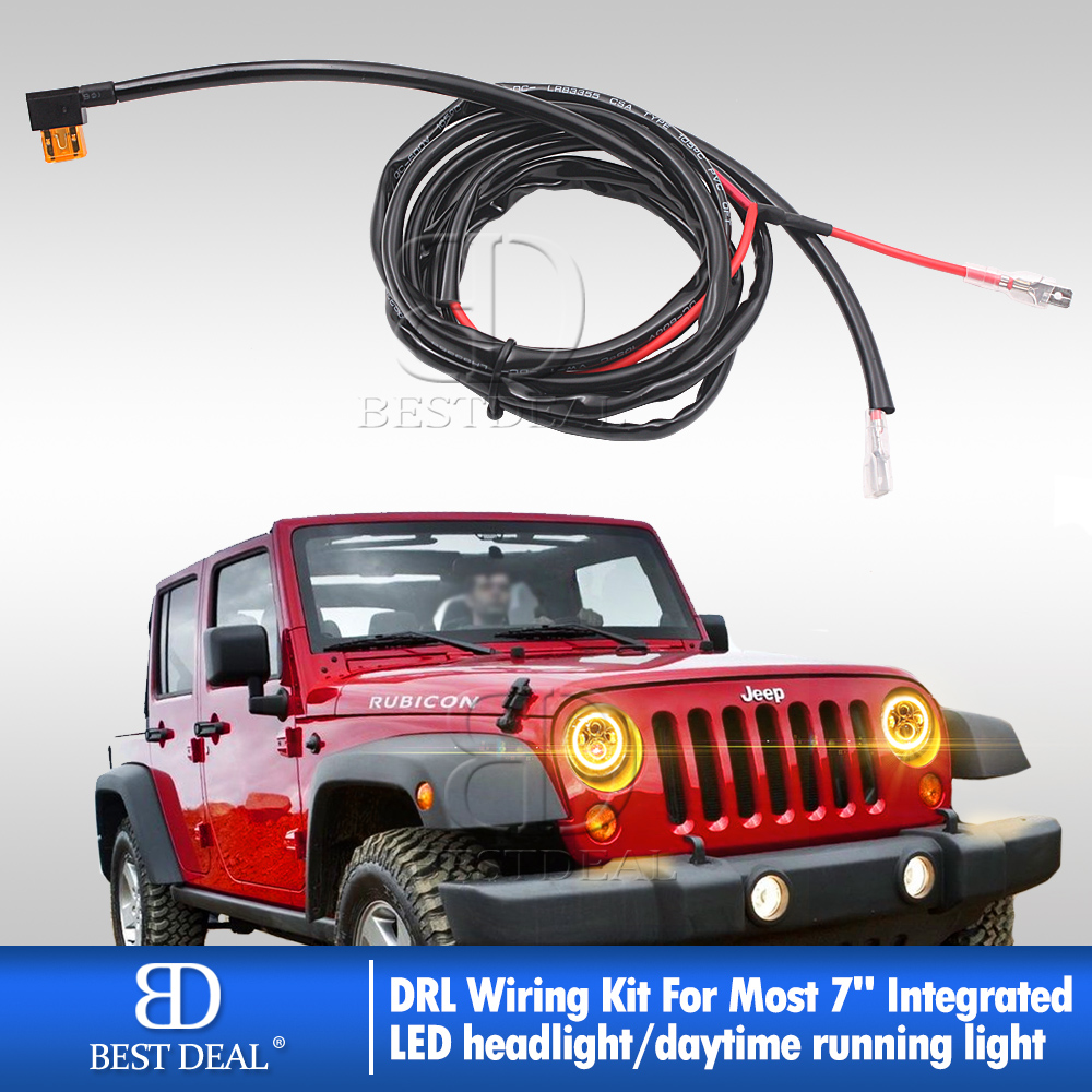 Details about DRL Wire Harness w/ Fuse Adapter For Headlight Add-on on