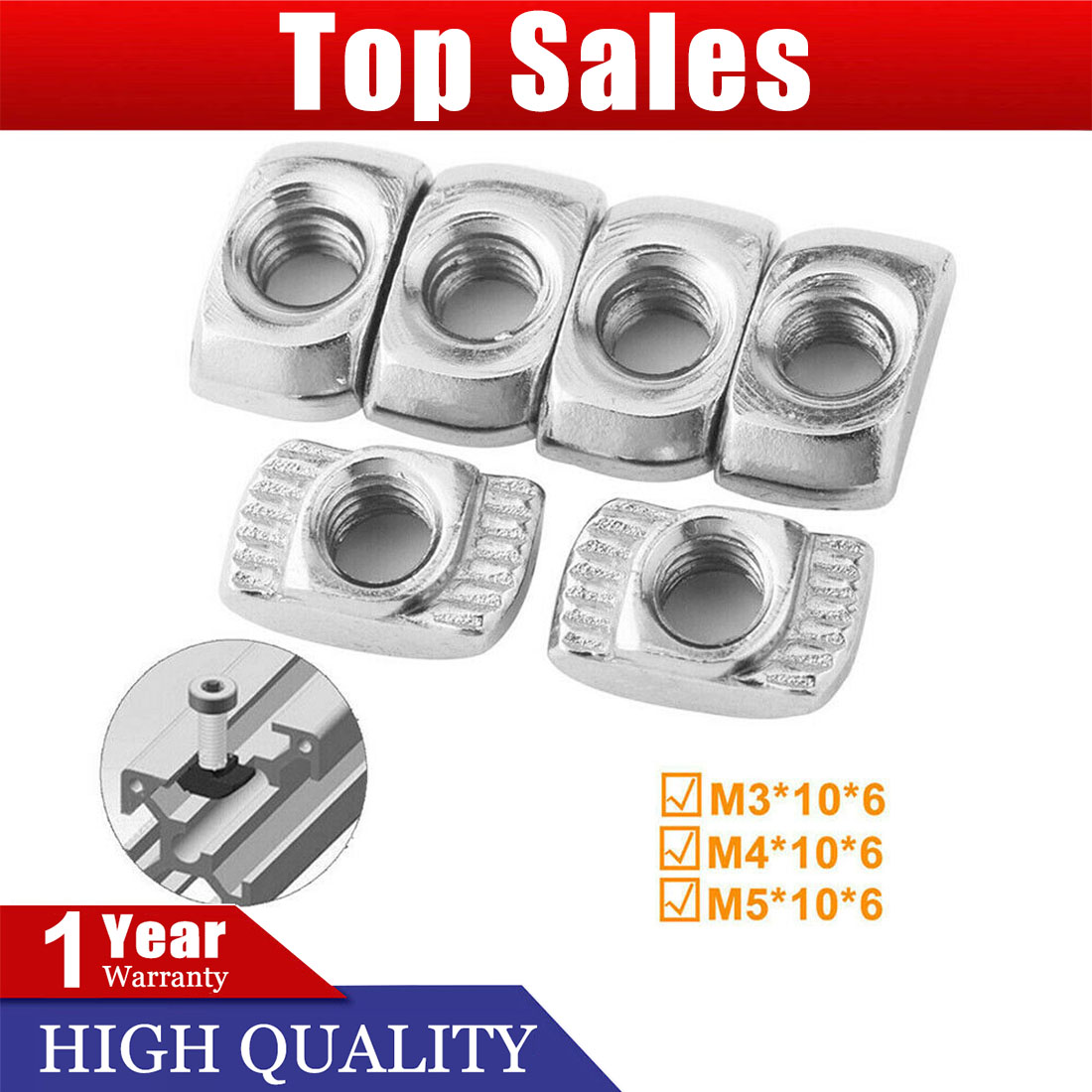 Drop in Nut for 2020 Extrusion 50pcs M5 T-Slot Hammer Head Female Thread