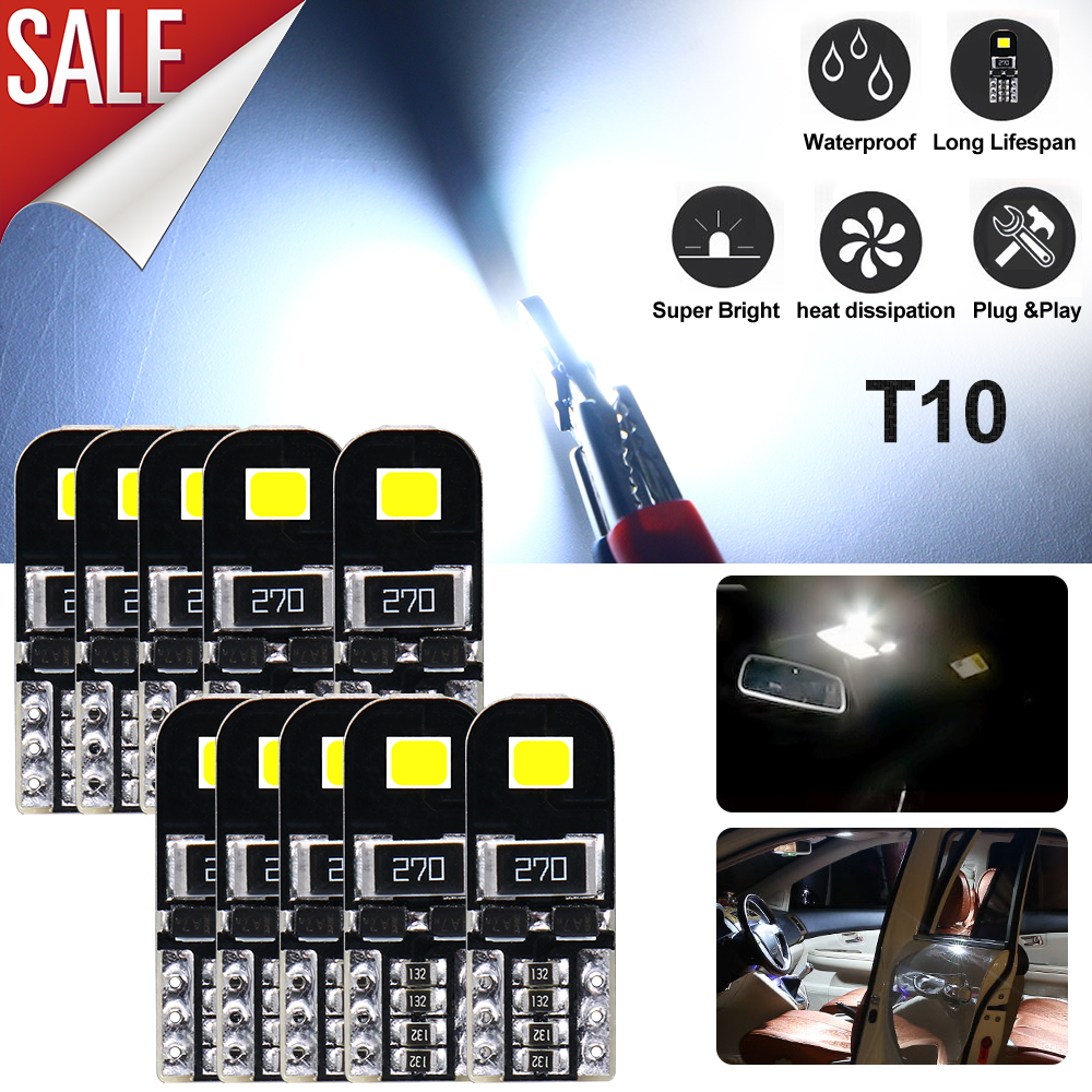 10pcs 6000K White T10 192 158 Wedge SMD LED Interior Dome Map License Light bulb