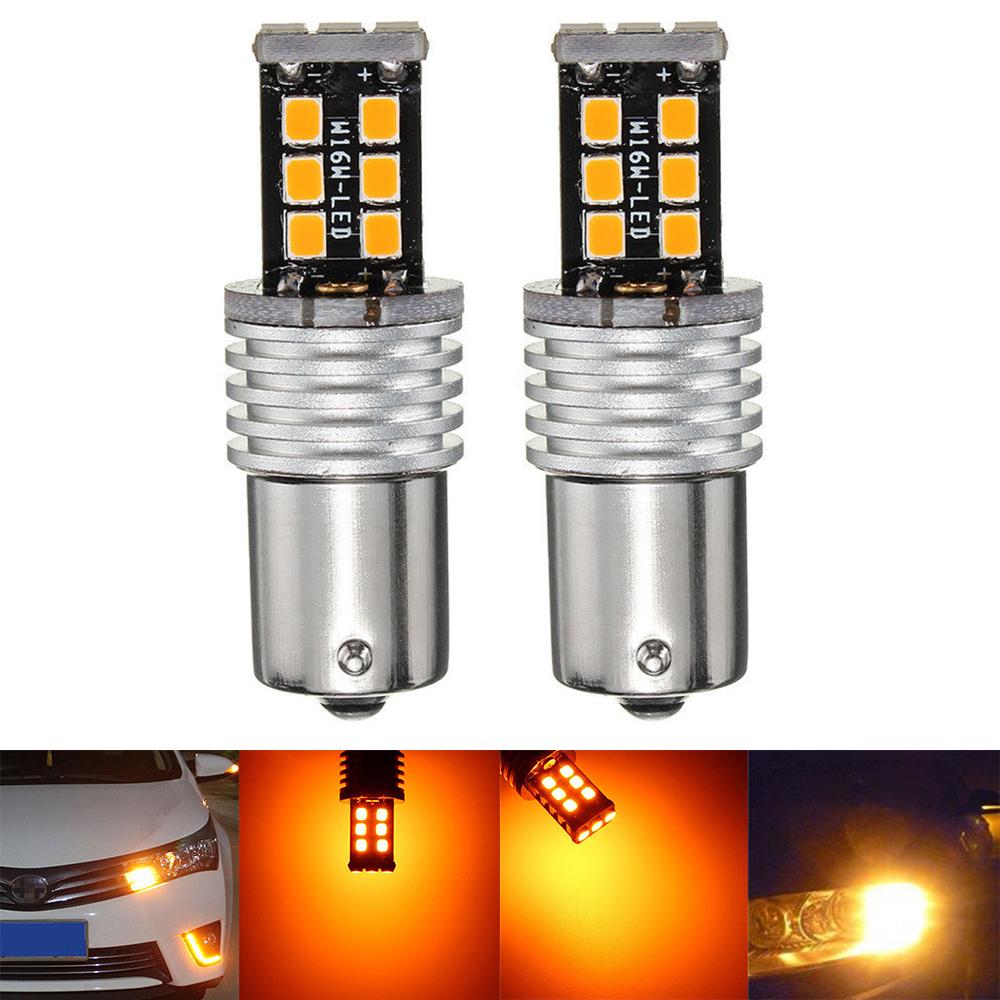 10pcs 1156 1159 1259 Amber Yellow 9 LED BA15S Signal Turn Tail Parking Lights