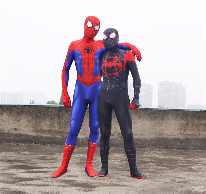 Spider-Man Costume Adult Spider-Verse Jumpsuit Cosplay Miles Morales Zentai