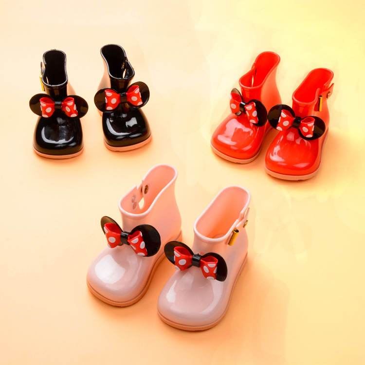 Kids Girls Toddler Princess Bow Cartoon Rain Boots Wellington Ankle Water Shoes