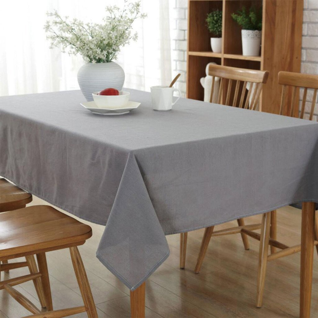 3qmart Rectangle Dining Tablecloth Linen Kitchen Table Cloth Cover Pure Colour