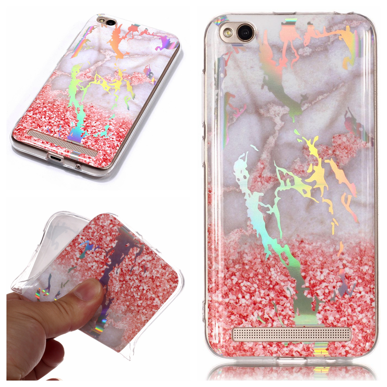 Shine Marble Laser Print Soft Slim TPU Case Phone Cover For Sony LG Xiaomi Nokia