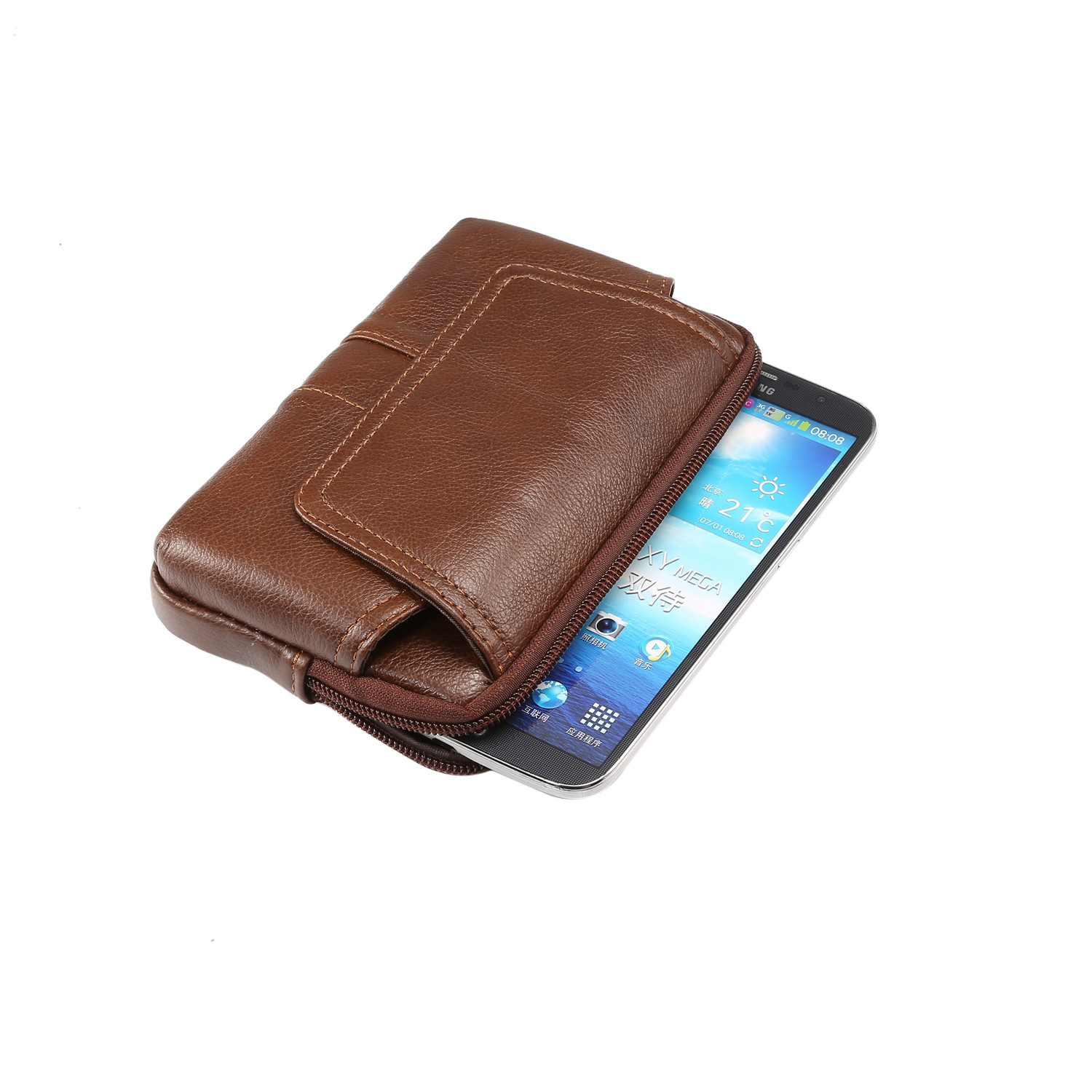 Men-039-s-Genuine-Leather-Horizontal-Sleeve-Belt-Loop-Pouch-Holster-Phone-Case-Cover