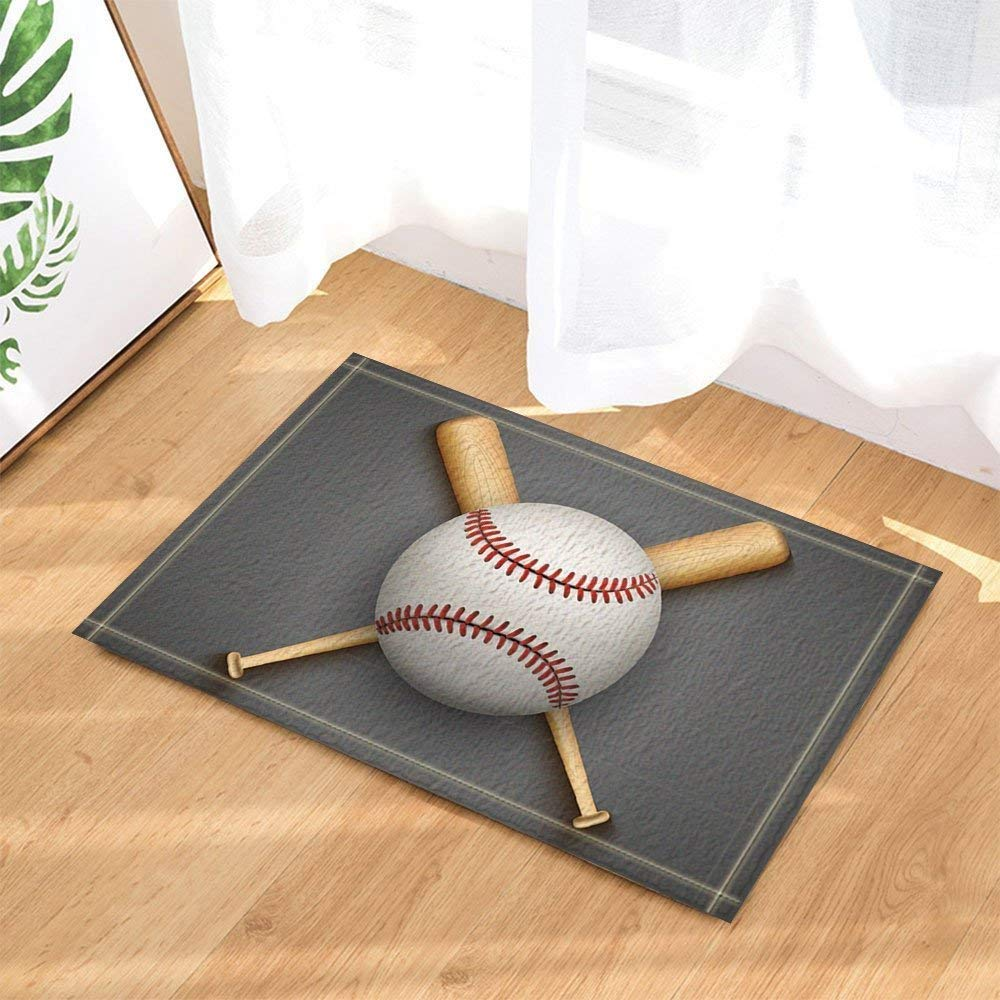 Details About Sports Baseball Leather Ball And Wooden Bats Bath Rugs Non Slip Floor Door Mat