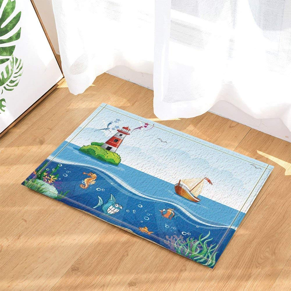 Details About Cartoon Sea Decor Ship Fish Lighthouse Bath Rugs Non Slip Floor Indoor Door Mat