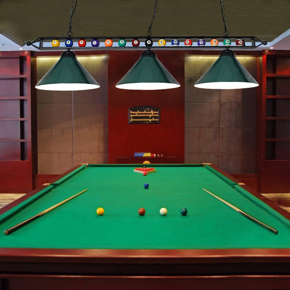 Billiard 3 Lights Hanging Lamp Bar Snooker Style Pool Table Metal Pendant  Lights