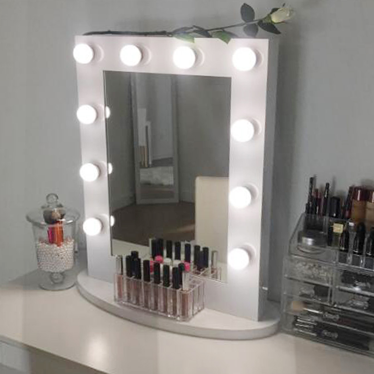 White Hollywood Makeup Vanity Mirror With Light Aluminum Christmas Gift