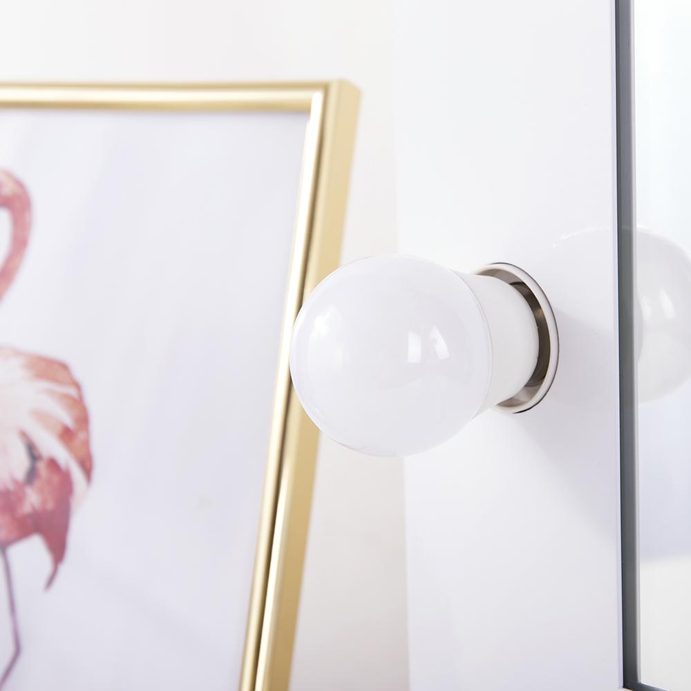 hollywood weisse schminkspiegel mit beleuchtung freie dimmer 12 led lampen ebay. Black Bedroom Furniture Sets. Home Design Ideas
