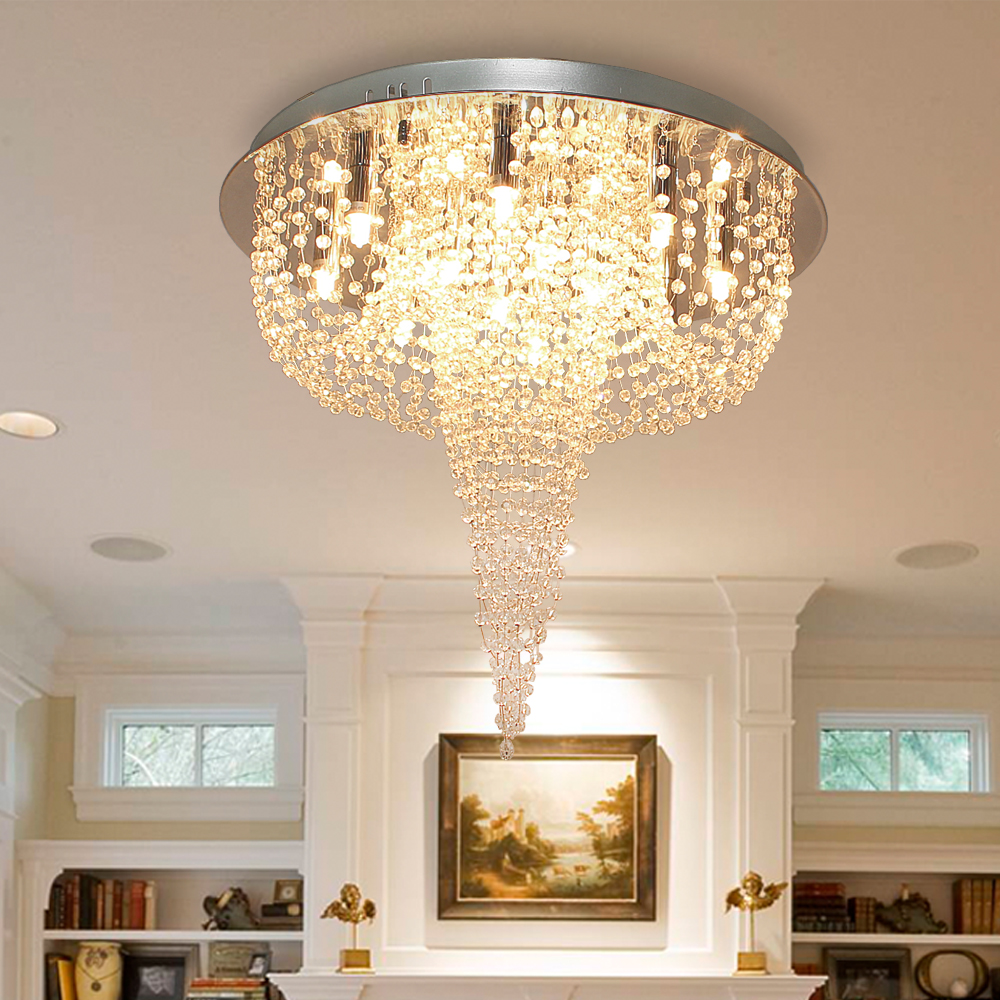 Crystal Flush Mount Ceiling Light Fixture Chandelier Stainless Plate Chrome