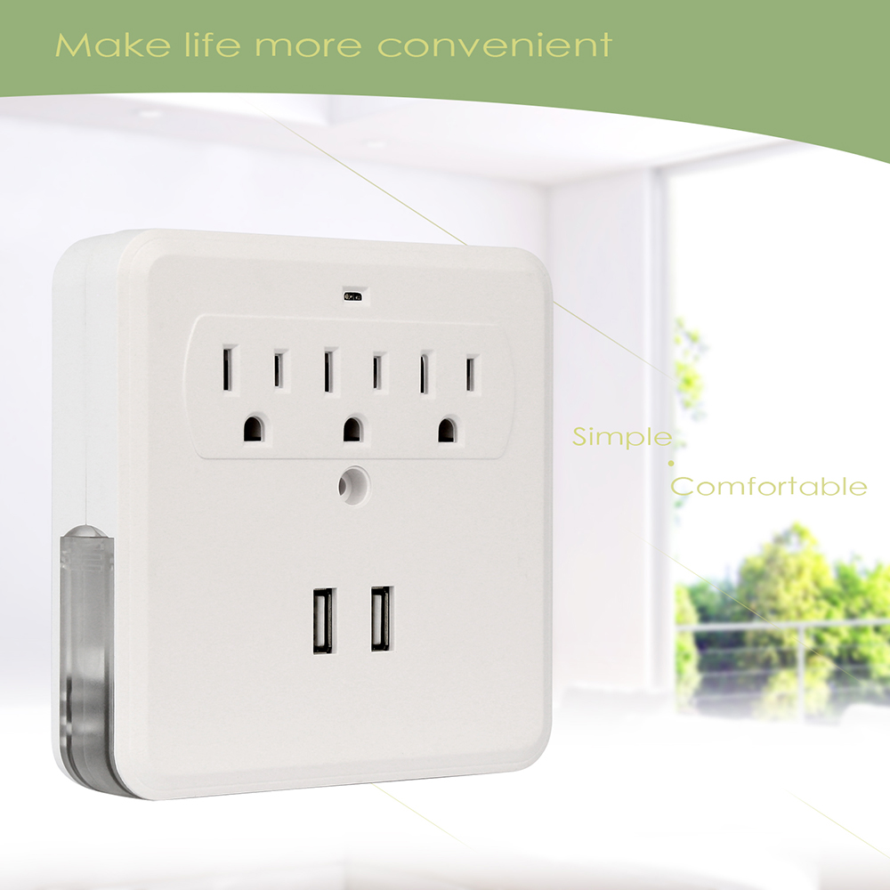 Dual USB Port Wall Socket Charger 3 AC Power Receptacle Outlet Plate ...