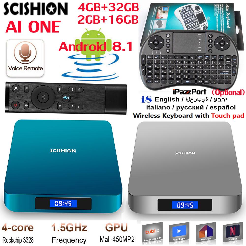 Details about SCISHION AI ONE Android 8 1 Smart TV Box Voice Control  Rockchip 3328 4K HD DDR3