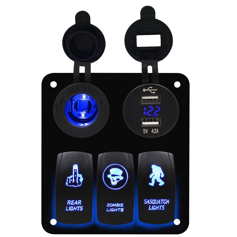 Fxc Switch Panel 3 Gang Rocker Switch Toggle Blue Led Car