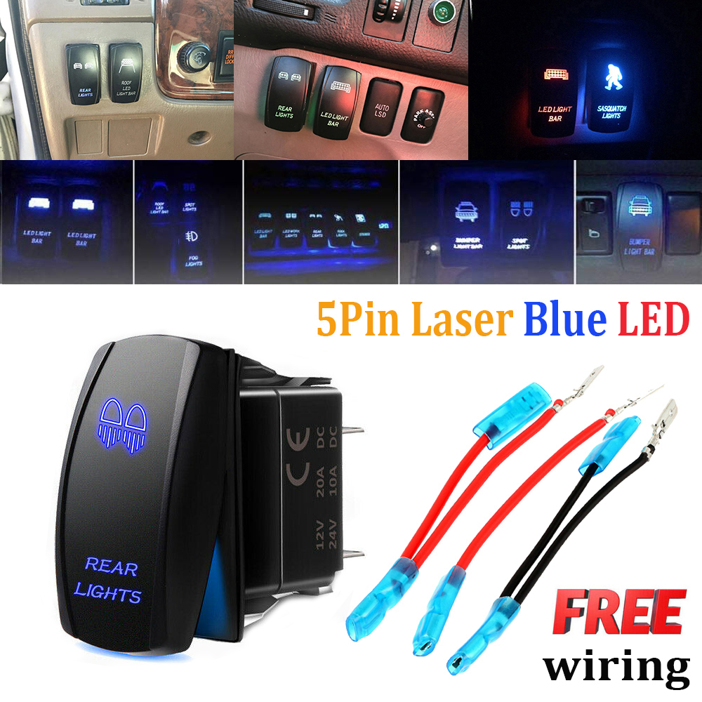 BLUE ROCKER SWITCH LASER ETCHED 20A 12V REAR LIGHTS