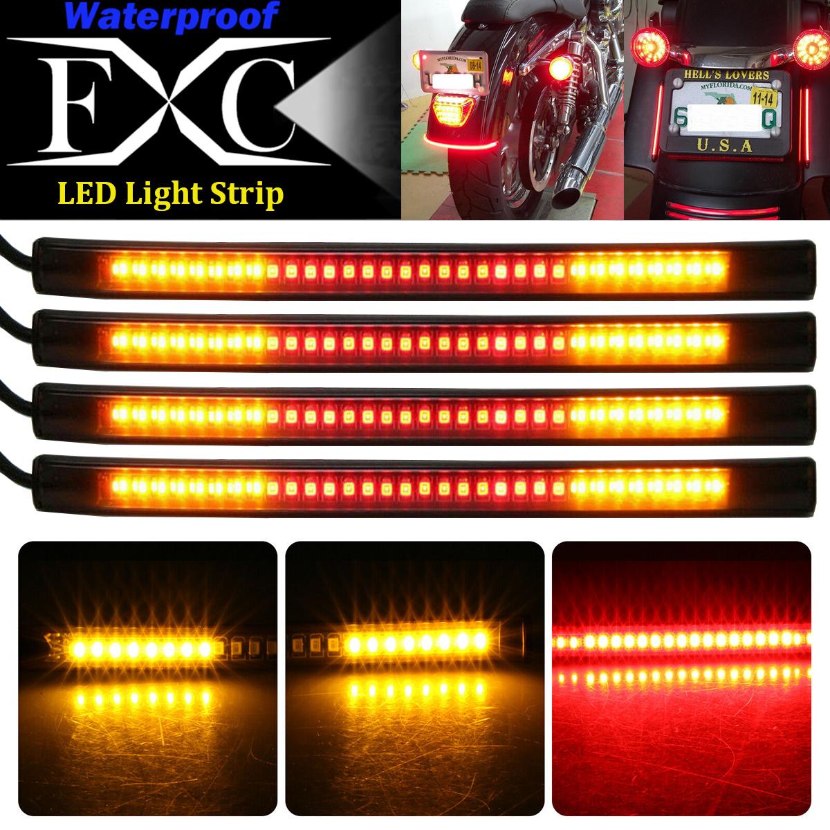 Universal Motorcycle LED Flowing Strip Tail Brake Stop Turn Signal Light For BMW