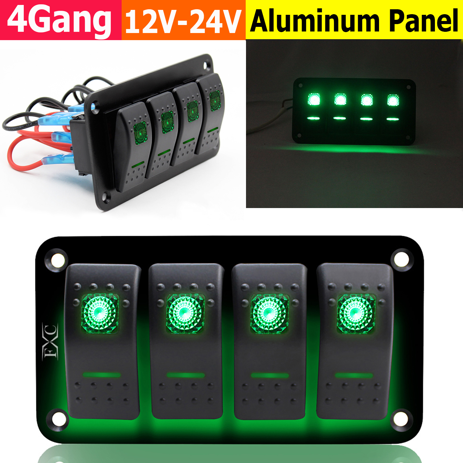 4 Gang Green LED Light Toggle Rocker Switches Combination Car RV Switch Panel