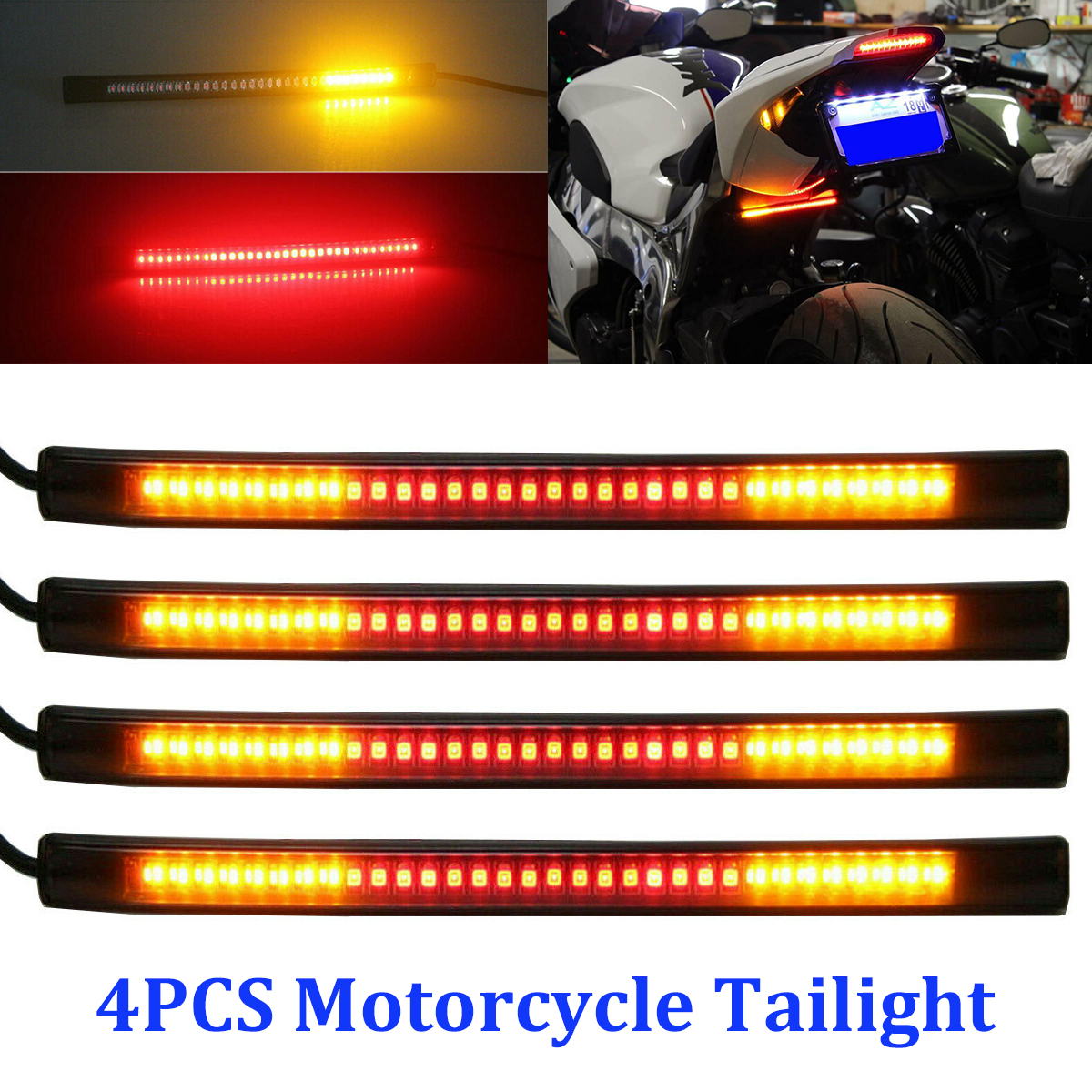 Flexible Motorcycle Strip Light 48LED Rear Tail Indicator Brake Stop Turn Lamp