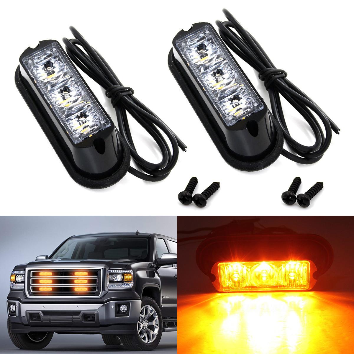 2x 10 LED Flashing Grille Deck Headlight Strobe Warning Flashing Light Amber