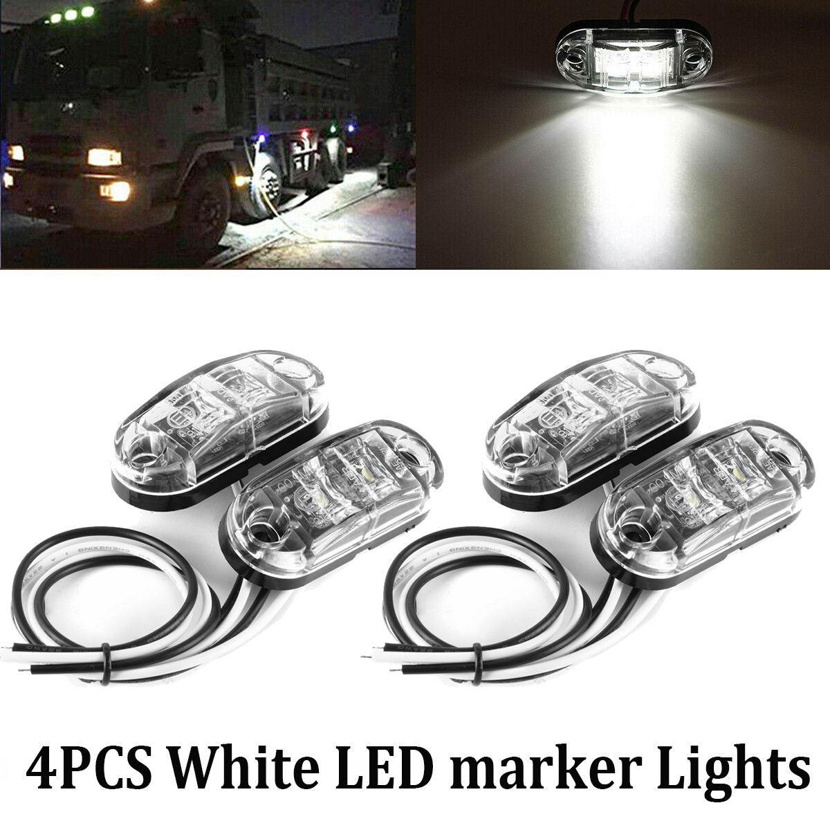 "10X White 12V LED Side Marker Light 2.5/"" Clearance Truck Trailer Turn Light"
