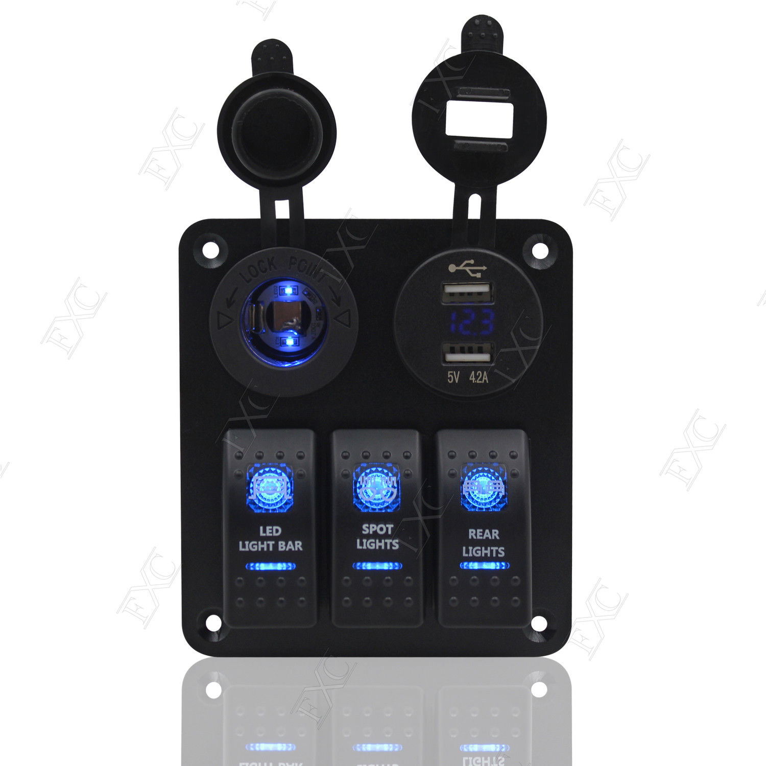 3 Gang Rocker Switch Panel Circuit Blue Led Light Breaker Fit Rv Car 42 What Happens When A Is On The Complete Lights Boat Marine