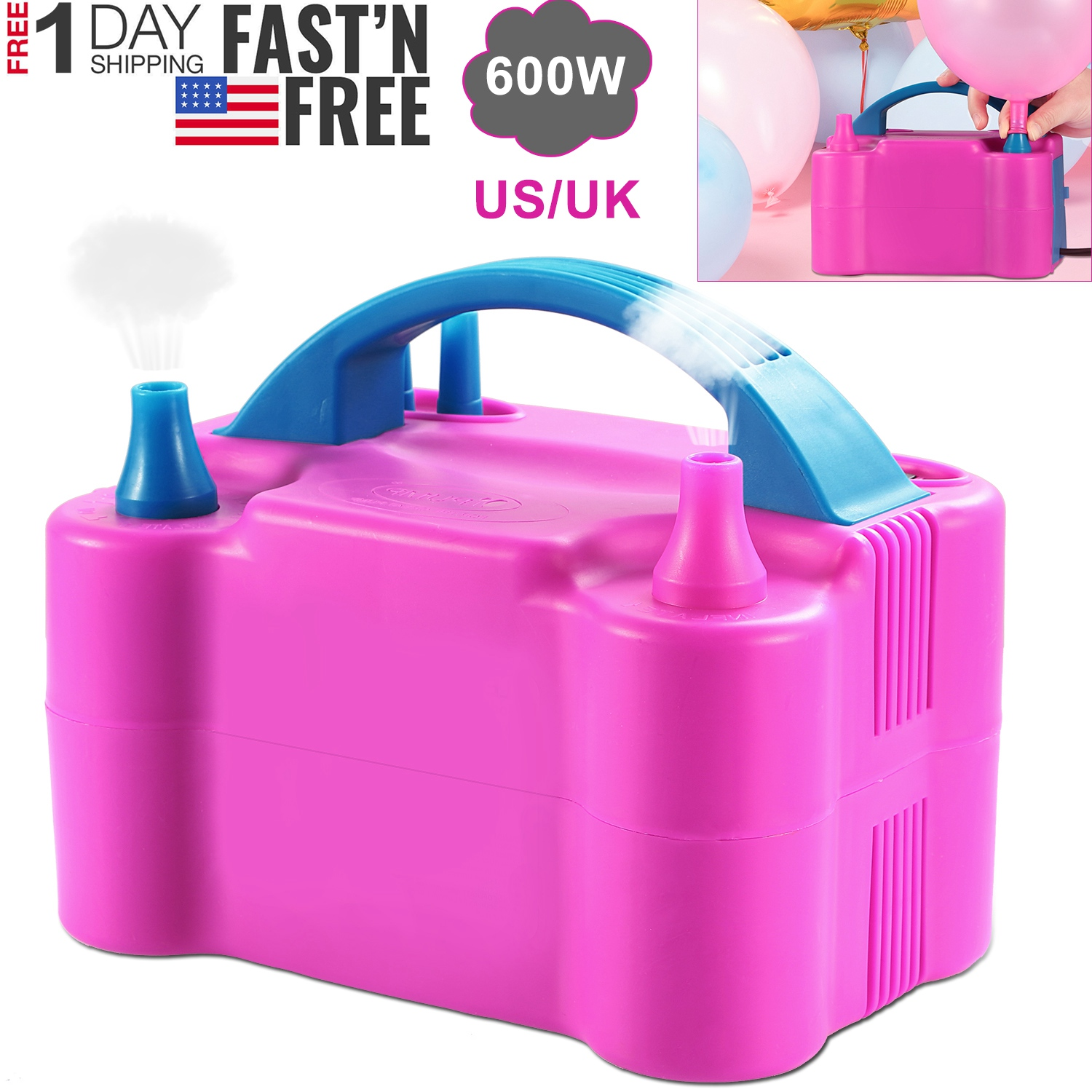 Portable Dual Nozzle Electric Balloon Blower Pump Air Inflator-Party 110v 600w