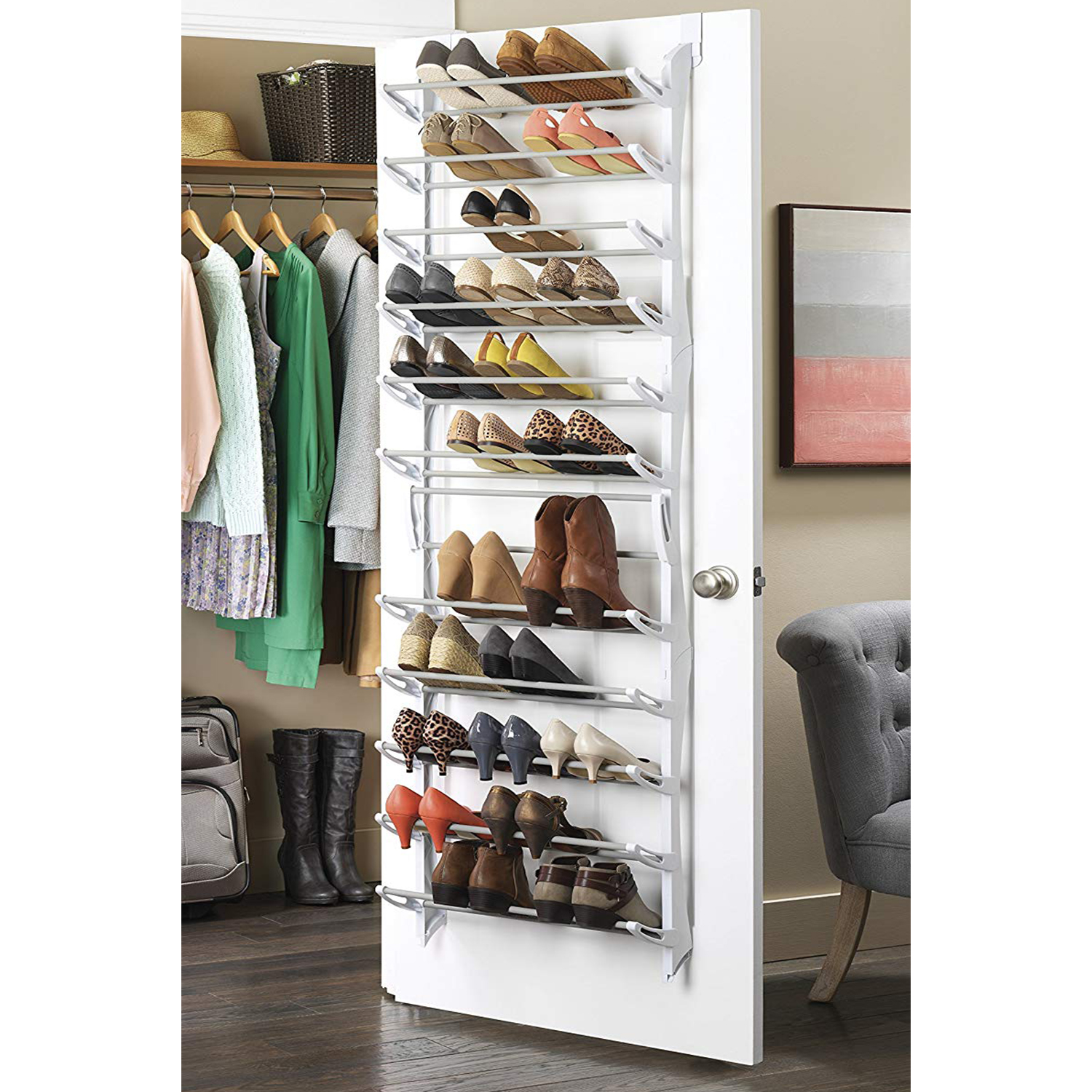 Details About 40 Pair Shoe Rack Organizer Wall Hanging Over The Door 12 Layers Closet Storage