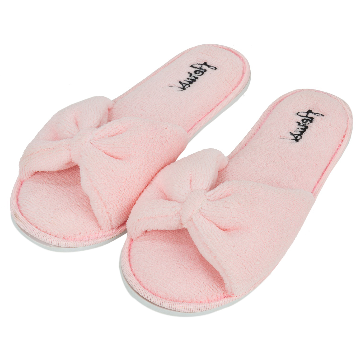 pink bowknot women s open toe cozy slide spa slipper 13874 | 4105871b 7f95 4ee2 9a10 45dcfa442c14