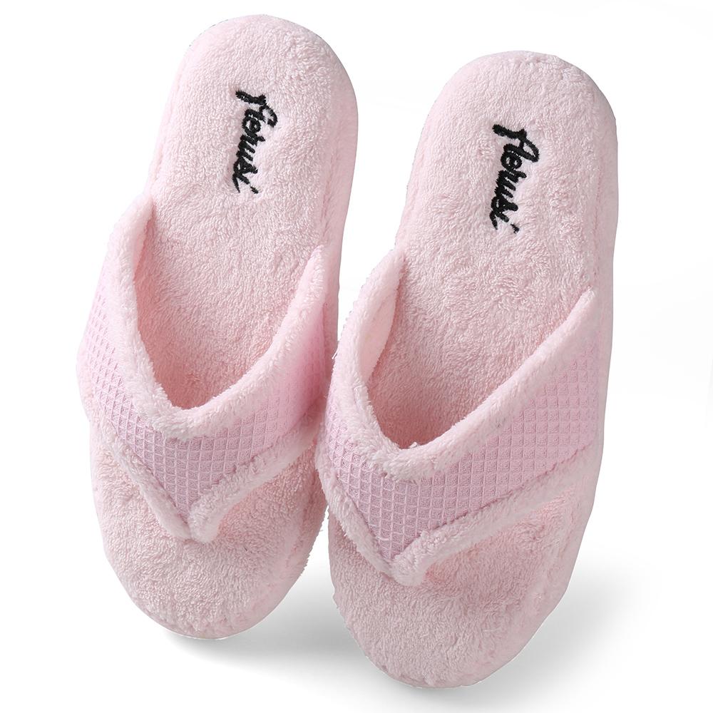 Pink Women Fuzzy Plush Thong Slippers Flip Flops House Bedroom ...