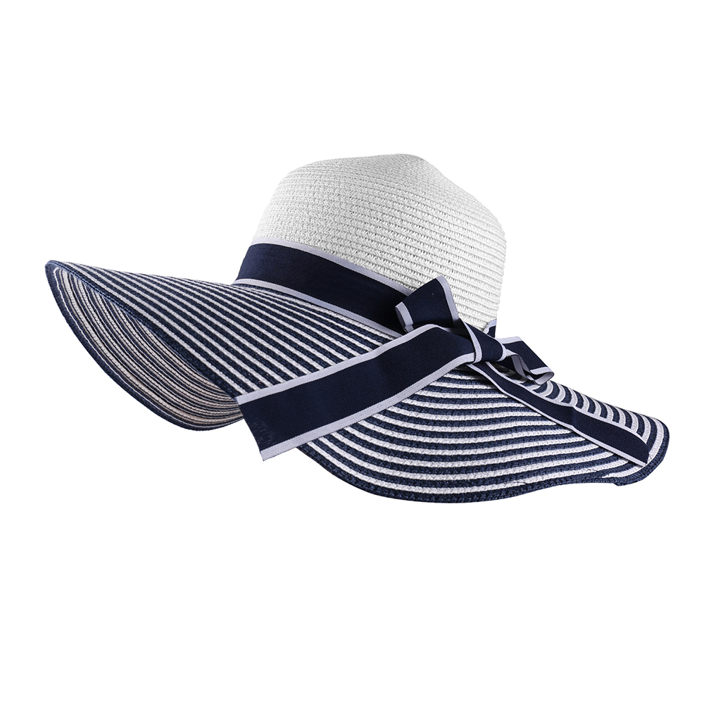 Women/'s Navy and White Stripe Wide Brim Straw Hat with Ribbon Bow Detail