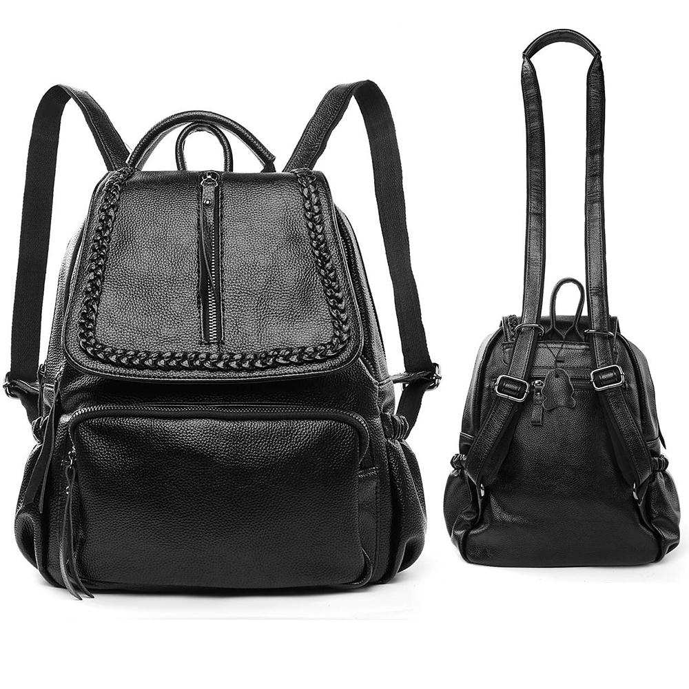 dd18bc6d931b Details about Black Women Genuine Leather Backpack Handbag Crossbody Shoulder  School Purse Bag