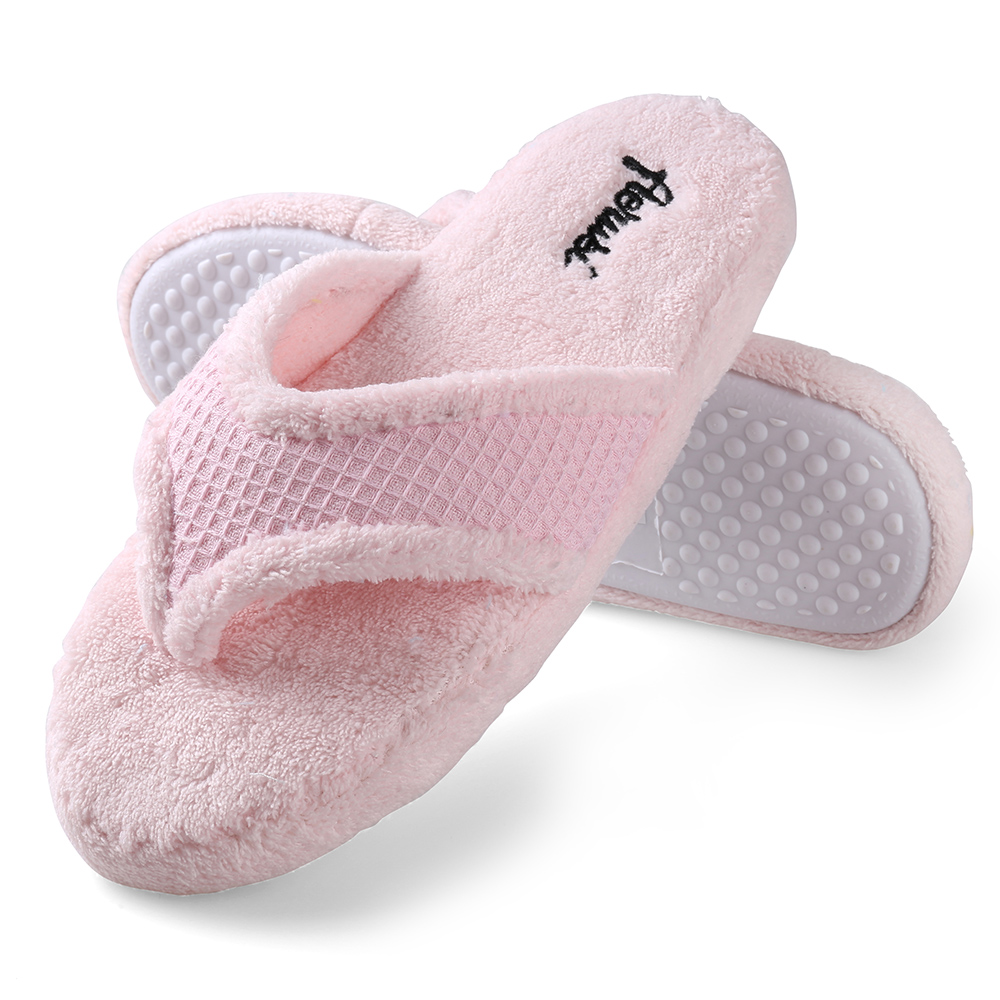 Pink Women Fuzzy Plush Slippers Flip Flops House Bedroom Shoes Size 7 8 9