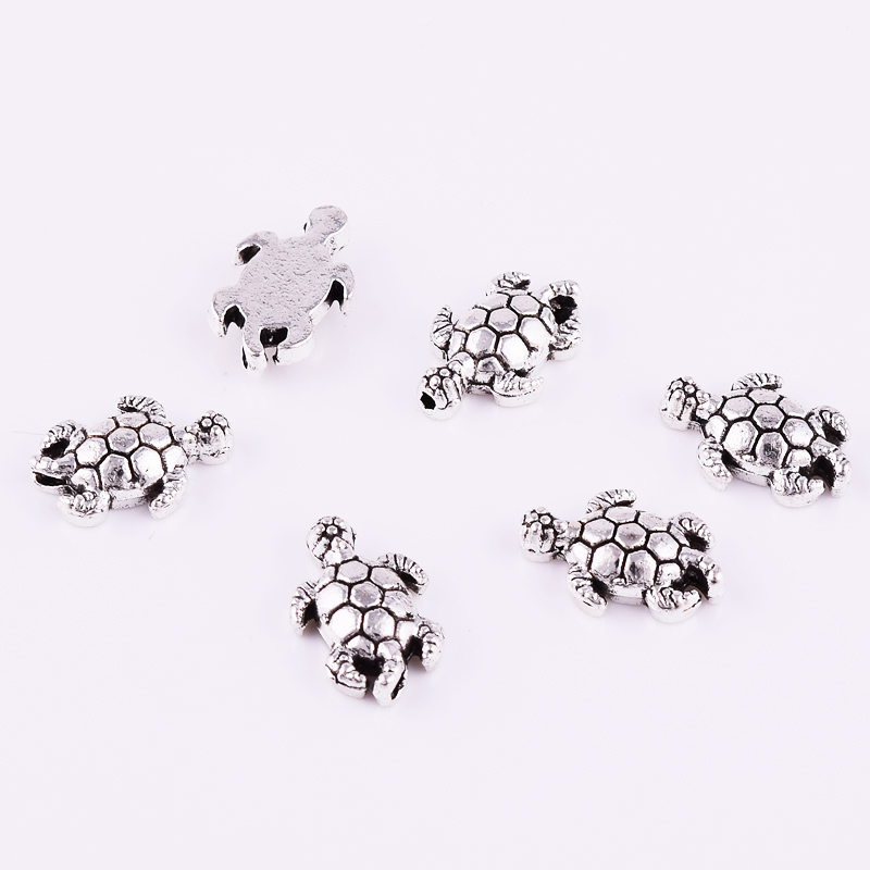 Tibetan Silver Tortoise Metal Spacer Beads Charm Loose Jewelry Findings 13x9mm