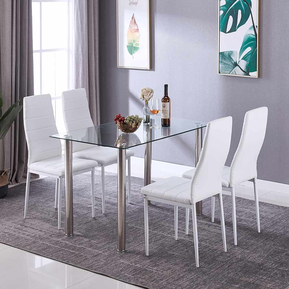 Swell Details About Glass Rectangle Dining Table Set With 4 Leather White Chairs Seats Home Kitchen Download Free Architecture Designs Viewormadebymaigaardcom