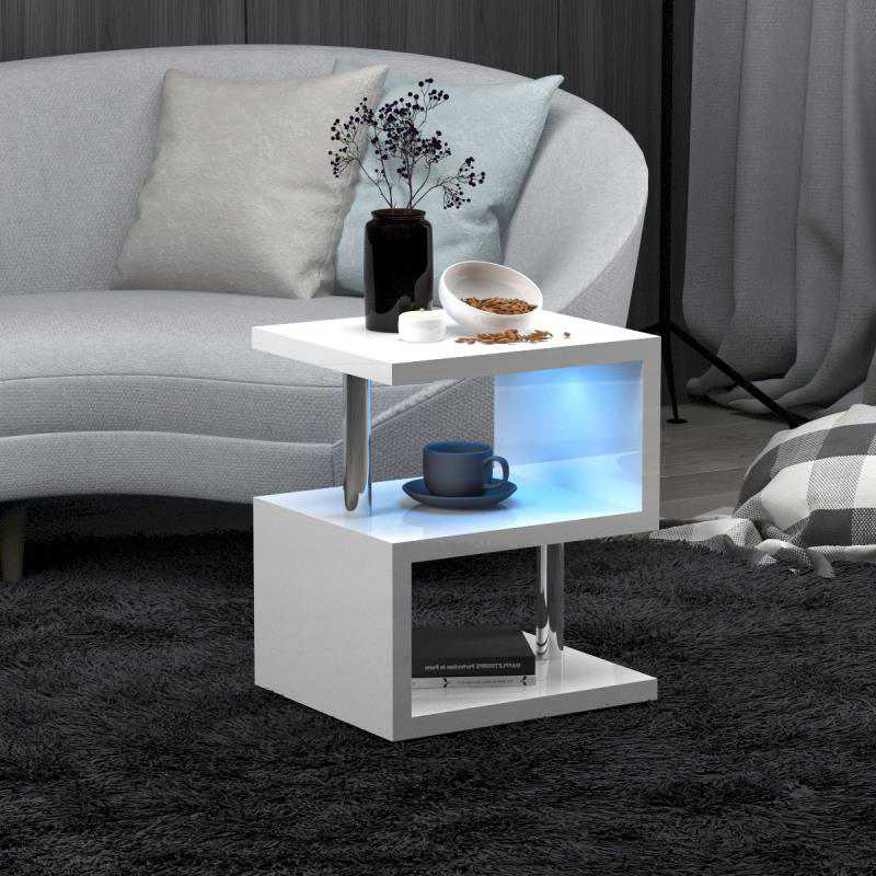 Alaska Modern Design White High Gloss Coffee//Side Table With Blue LED Lights