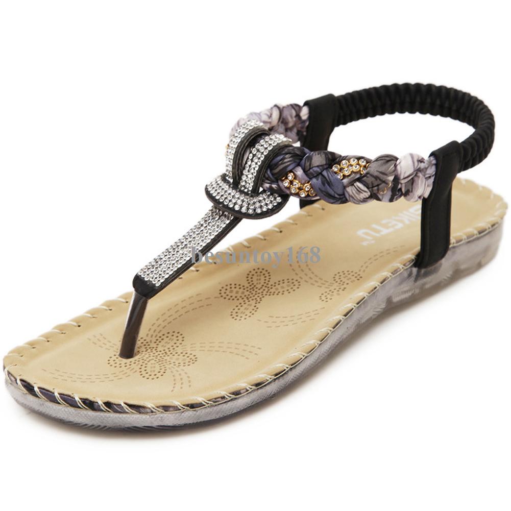ae71bc41e2a5c Details about Women s Elastic Shiny Rhinestone Flip Flops Summer Beach  Thong Flat Sandals