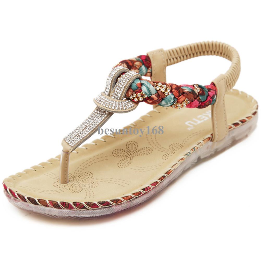 b37ff1f8bd5df Women s Elastic Shiny Rhinestone Flip Flops Summer Beach Thong Flat Sandals  Walking Shoes