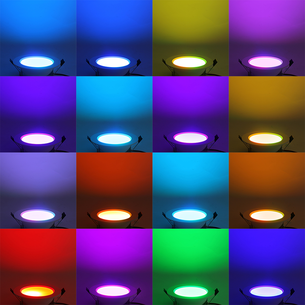 5pcs 5w dimmbar rgb led panel einbaustrahler deckenleuchte mit fernbedienung de ebay. Black Bedroom Furniture Sets. Home Design Ideas