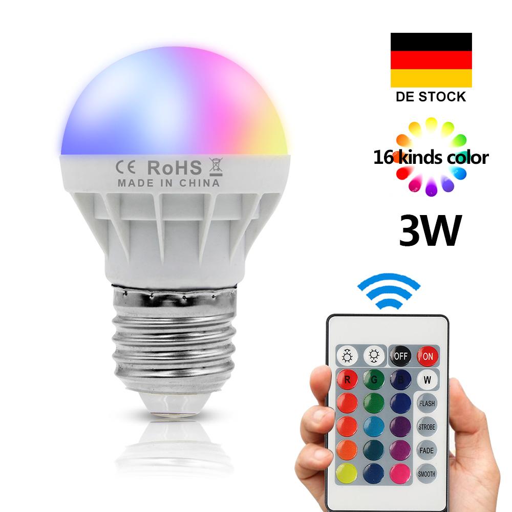 4x3w rgb led gluehbirne fernbedienung farbwechsel leuchte e27 led lampe 150lm 6387224628567. Black Bedroom Furniture Sets. Home Design Ideas