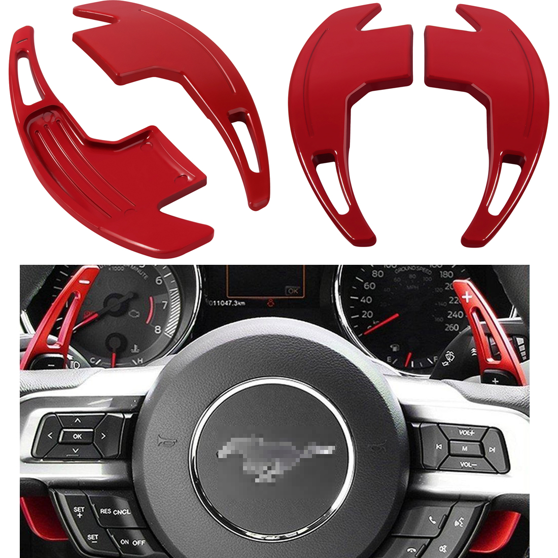 2pcs Steering Shift Paddle Shifter Extension Interior For Ford Mustang 2015-2018