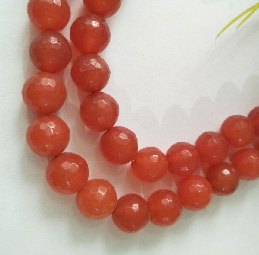 """8mm Faceted Rare Orange South America Topaz Round Gems Loose Beads 15/""""AAA"""