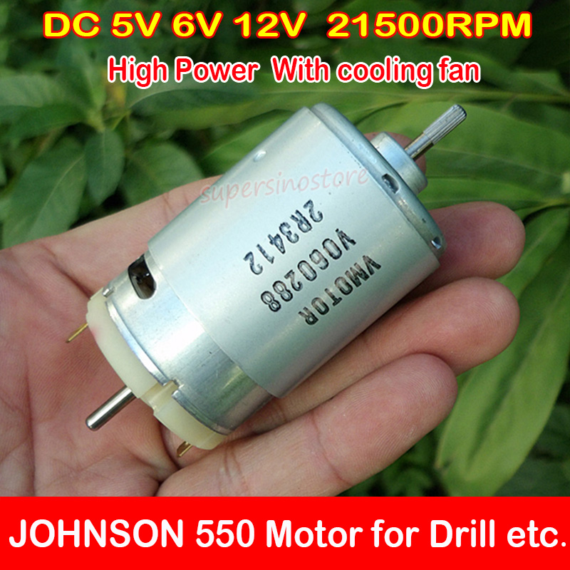 JOHNSON RS-550 DC 6V-12V 21500RPM High Speed Dual Shaft Motor DIY Electric Drill