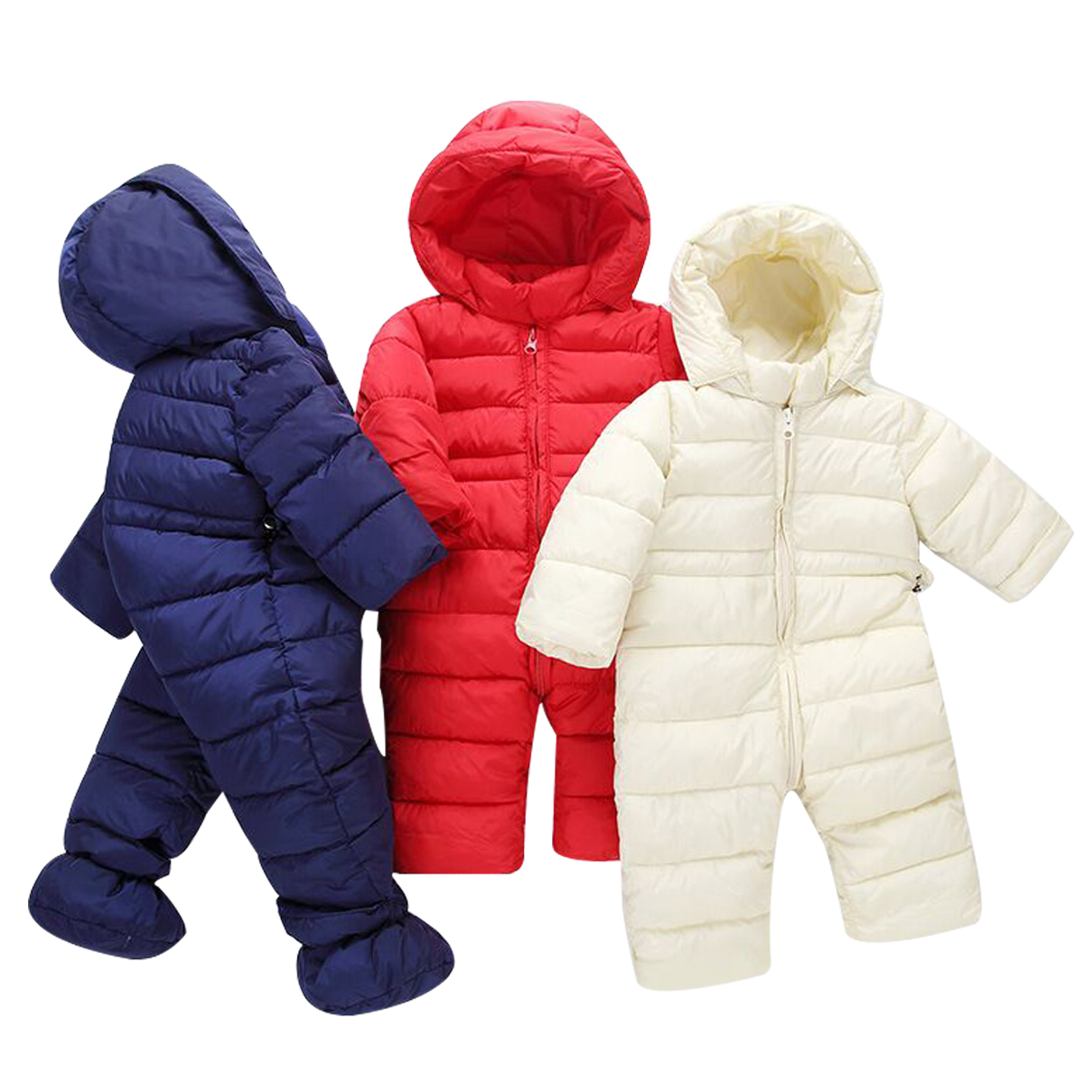 327cee695e0c Details about Newborn Winter Thick Snowsuit Baby Boys Girls Outwear Romper  Warm Down Jumpsuits