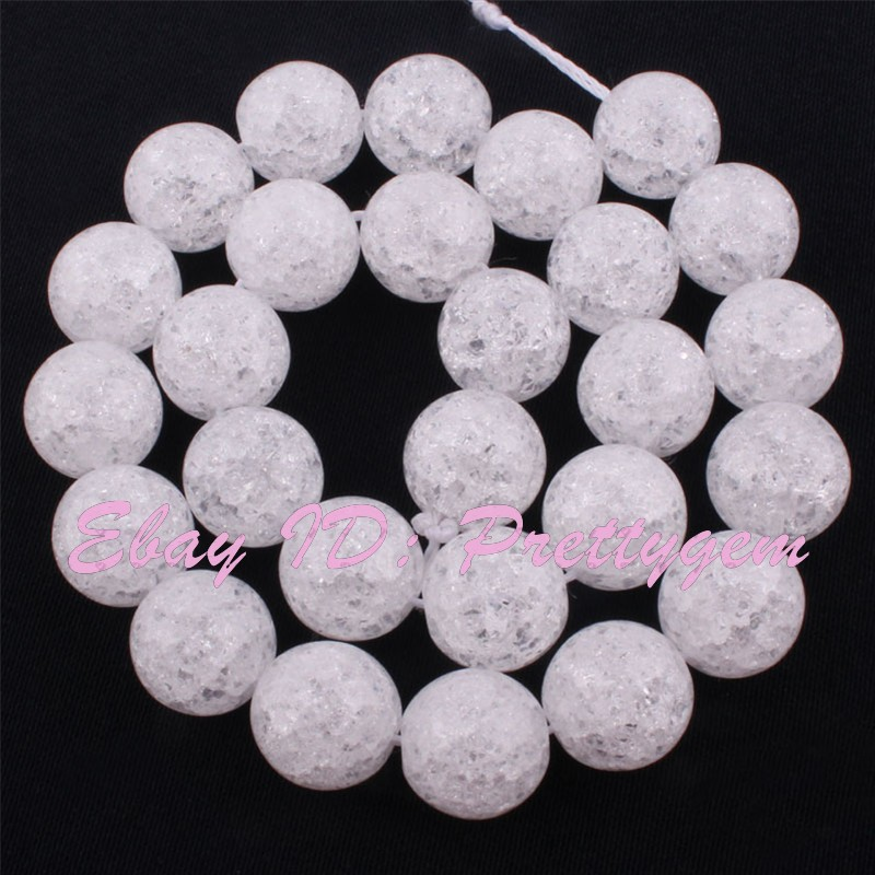 Round-White-Crystal-Rock-Quartz-Beads-Cracked-Smooth-Gemstone-15-034-4-6-8-10-12mm