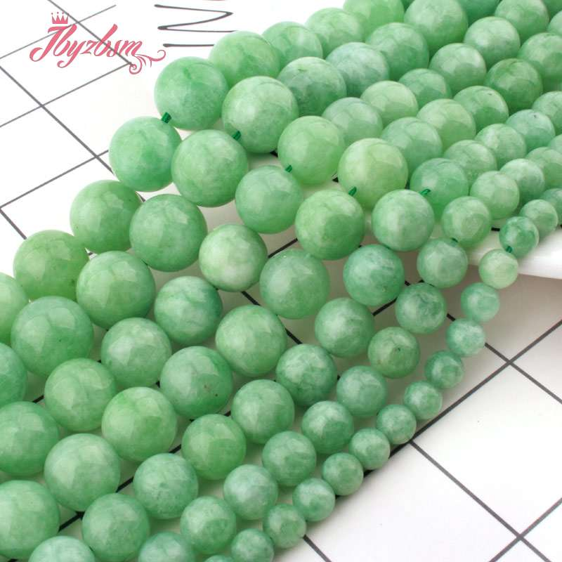 """Round Ball Green Burma Jade Spacer Loose Beads Stone for Jewelry Making 15/""""DIY"""