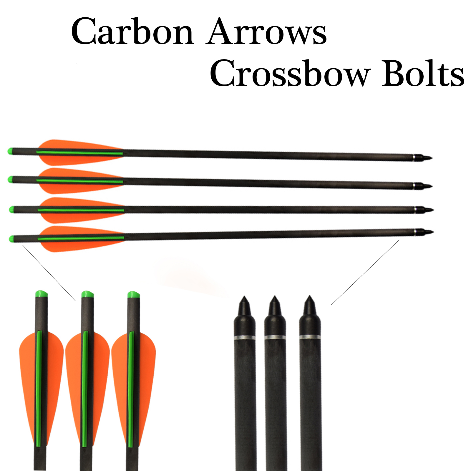 """22""""Archery Hunting Crossbow Bolts Carbon Fiber with 125 Grain Replaceable Tips"""