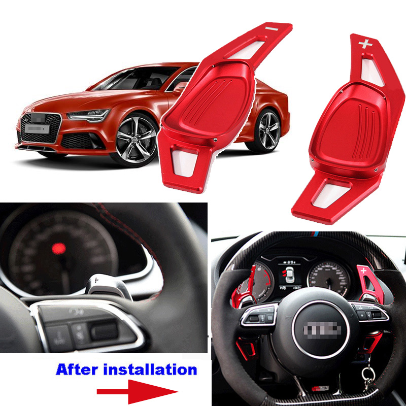 Details About For Audi Rs7 2016 Steering Wheel Dsg Paddle Shifters Extension Red Color 2pcs