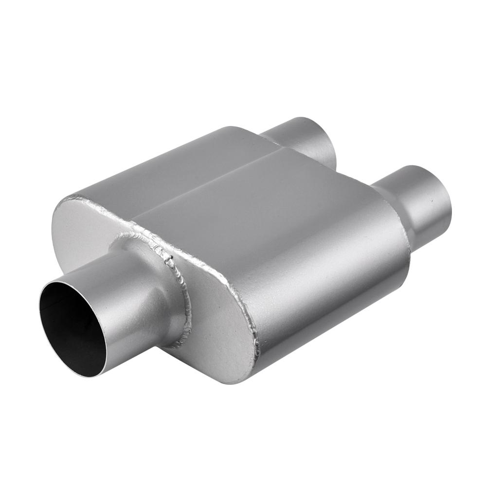 Universal Muffler 2.5 Center Inlet 2.5 Outlet Aluminized Steel 2.5 Inch Exhaust Chamber Race Muffler 12 Overall Length Black